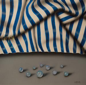 VHeca Franjas Azules y Canicas -40 x 40cm